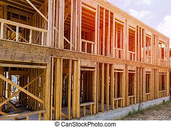 construction, bois, multi-family, bâtiment, cadre, logement