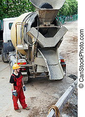 construction builder and concrete mixer - Happy worker...