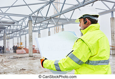 Construction builder worker - male engineer construction...