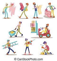 Construction builders or workers men vector cartoon funny building profession characters isolated icons set
