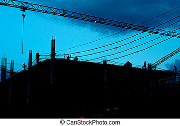 Construction building and crane