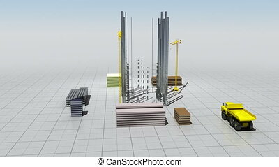 Construction building process animation