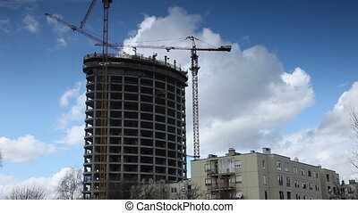 construction building time-lapse - construction crane...