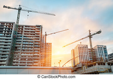 Construction buildings of concrete and glass - Construction ...