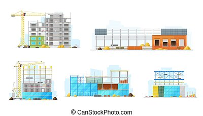 Construction buildings, store and warehouse icons