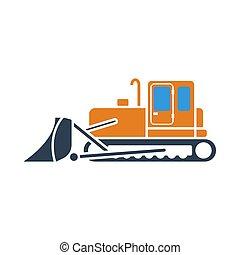 construction, bulldozer, icône