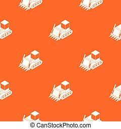 Construction bulldozer pattern vector orange