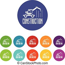 Construction business icons set vector color