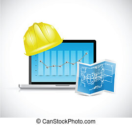 construction business illustration design over a white...