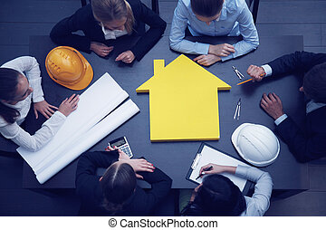Construction business meeting