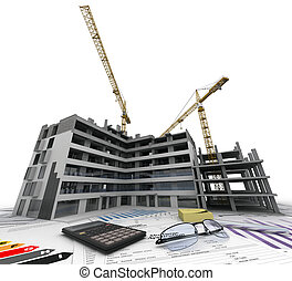 Construction business - Building under construction with...