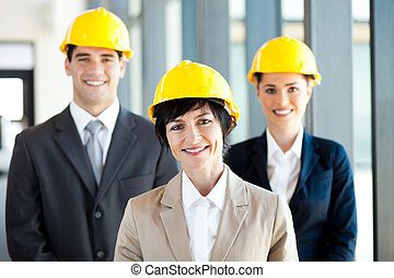 construction businessman and businesswoman