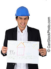 construction businessman holding a child drawing of a house