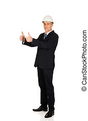 Construction businessman showing ok sign