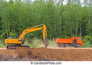 construction, camion, décharge, excavateur, autoroute