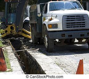 construction, camion, décharge