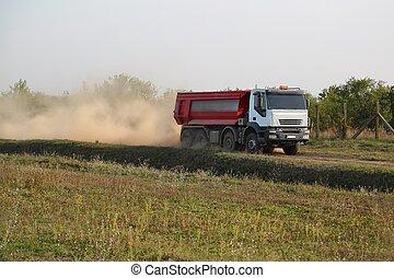 construction, camion, route