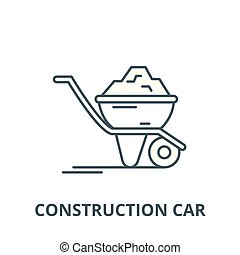 Construction car line icon, vector. Construction car outline sign, concept symbol, flat illustration