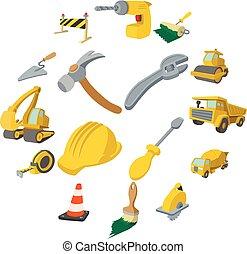 Construction cartoon icons