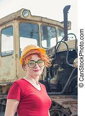 construction, casque, engineer., femme