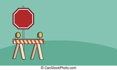 construction caution set signals animation