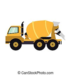Construction cement truck vehicle sideview isolated