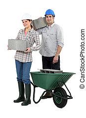 construction, cendre, ouvriers, porter, blocs