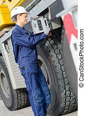 construction, chauffeur, véhicule