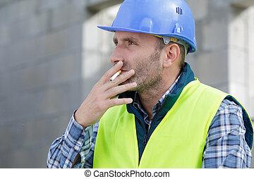 construction, cigarette, constructeur, heureux, fumer, site