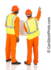 construction co-workers pointing