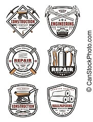 Construction company retro badge with repair tool