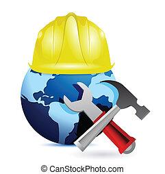 construction concept around the globe.