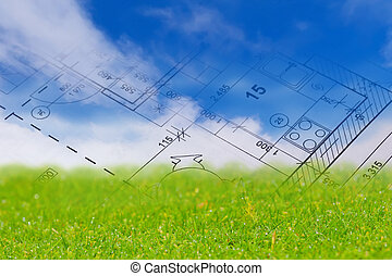 Construction concept - Background with blue sky, green land ...