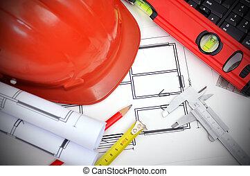 Construction concept. Blueprint, caliper and work tools