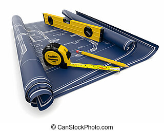 Construction Concept. Blueprint, level and rulers. 3d
