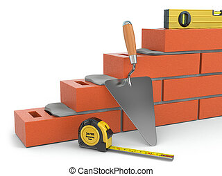 Construction concept. Brick wall trowel and level, 3d