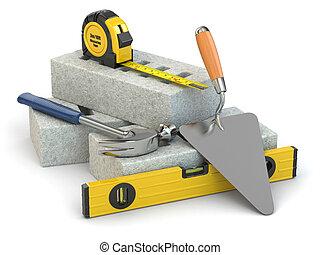 Construction concept. Bricks, trowel, hammer and level. 3d