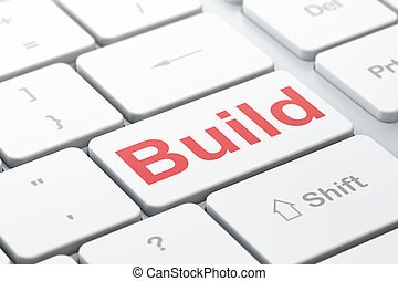 Construction concept: Build on computer keyboard background