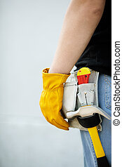builder - construction concept, builder with yellow working ...
