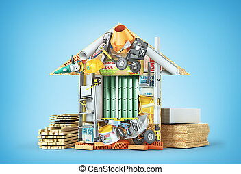 Construction concept. Building materials laid out form of house. 3d illustration