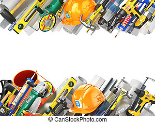 Construction concept. Construction tools along a sides...