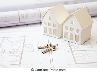construction, concept., dessins, bureau, résidentiel, bâtiment, maison, bureau, clés