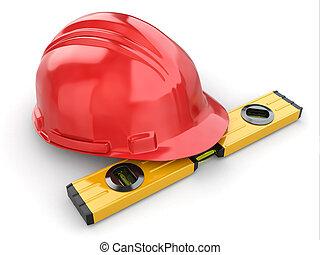 Construction concept. Hardhat and carpenter's level. 3d