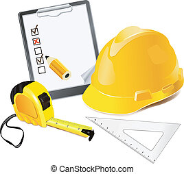 Construction Concept Helmet, pencil and rulers
