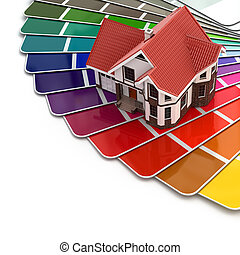 Construction concept. House and color palette. 3d