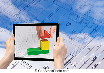 Construction concept - In the bottom left of the photo are ...
