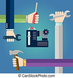 Construction concept of hands with tools, repairing machine