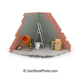 Construction concept, part of the wall from floor repair process.3D illustration