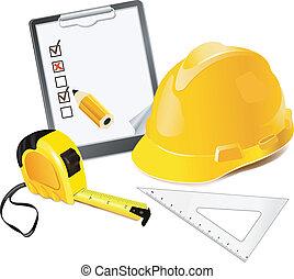 construction, concept, penci, casque
