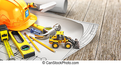 Construction concept. Set of construction tools on a white wooden board. 3d illustration